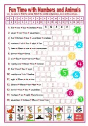 English Worksheet: FUN TIME WITH NUMBERS AND ANIMALS