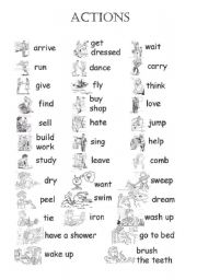 English Worksheets: Set of actions js 04