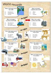 English Worksheets: World records - superlative