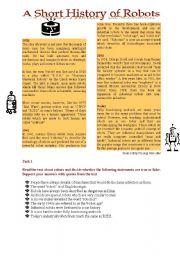 English Worksheet: A Short History of Robots