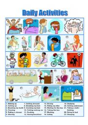English Worksheets: Daily Activities - Picture Dictionary