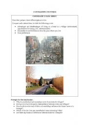 English Worksheet: Living in a town or in a village