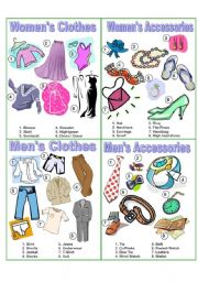 English Worksheet: Clothes & Accessories Picture Dictionary