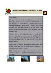 English Worksheet: On Holiday in Spain