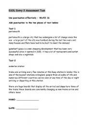 English Worksheet: Entry 2 Assessment Task on Punctuation for ESOL
