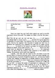 English worksheet: ANIMAL RIGHTS