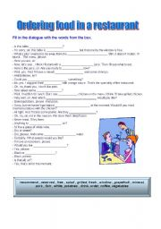 English Worksheet: ordering food in a restaurant