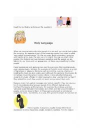 English Worksheets: Body Language Reading plus questions