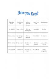 English Worksheets: Have you ever? Bingo