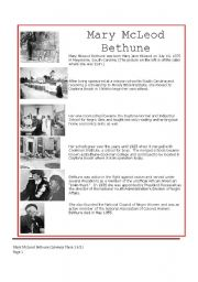 English Worksheets: MARY MCLEAD BETHUNE-READING COMPREHENSION