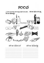 English Worksheets: Food - how much, how many