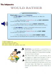 English Worksheet: THE SUBJUNCTIVE --- WOULD RATHER