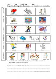 English Worksheets: hobbies & interests guided paragraph writing