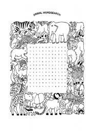 English Worksheet: Animal Wordsearch (Worksheet #3)