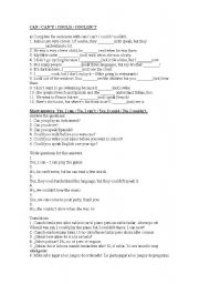 English Worksheet: CAN/ CAN�T / COULD /COULDN�T