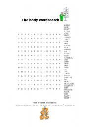 English Worksheets: The body wordsearch