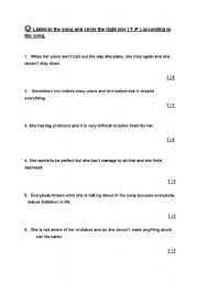 English Worksheet: Listening plan(song)Nobody is perfect by Hannah Montana-TRUE/FALSE
