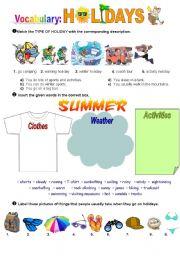 English Worksheet: Holidays