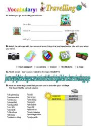 English Worksheets: Travelling