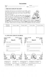 English Worksheet: Meals and food worksheet