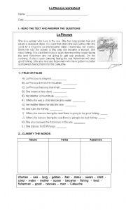 English worksheet: The Pincoya Leyend