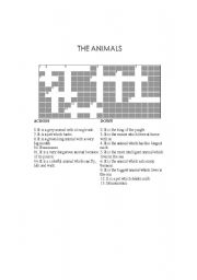 English Worksheets: Crossworrd: The Animals
