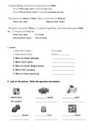 English Worksheets: What is..? what are...?