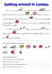 English Worksheets: Getting around in London