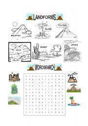 English Worksheet: Landforms