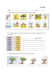 English Worksheet: days months and seasons