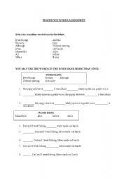 English Worksheets: Transition Words Assessment