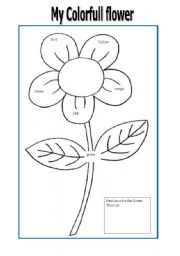 English worksheets: color the flower