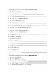 English Worksheets: Genitive Case