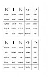 English worksheets: Word Bingo, words with suffix er, est