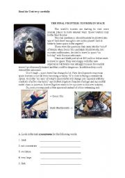 English Worksheet: THE FINAL FRONTIER: TOURISM IN SPACE