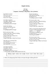English Worksheets: Song - Alicia Keys - No One