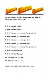 English Worksheets: Guess what?