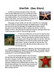 English Worksheets: Starfish (Sea Stars)
