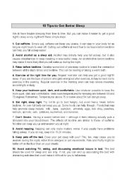 English Worksheets: Tips to getting a good night´s sleep