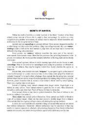 English Worksheets: SECRETS OF SURVIVAL (animals)