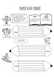 English Worksheets: Proper Noun Pursuit