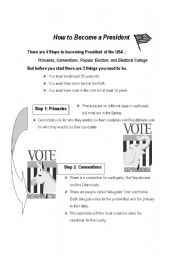 English Worksheets: How to Become a President