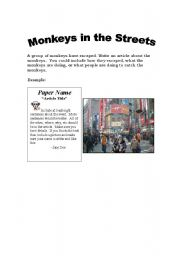 English Worksheets: Monkeys in the Streets