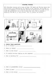 English Worksheets: daily routine reading worksheet