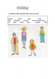 English Worksheet: Clothing