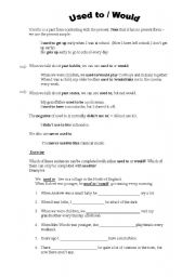 English Worksheet: used to / would