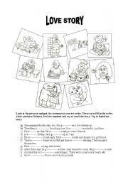 English Worksheet: Love story (past tense practice)