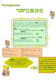 English Worksheets: THE SUBJUNCTIVE---WISH - IF ONLY
