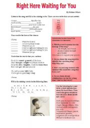 English Worksheet: Song: Right Here Waiting for You by Richard Marx