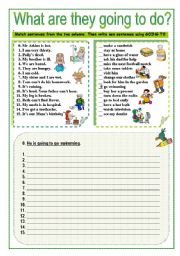 English Worksheets: WHAT ARE THEY GOING TO DO?